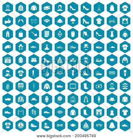100 fashion icons set in sapphirine hexagon isolated vector illustration