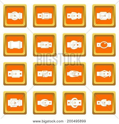 Belt buckles icons set in orange color isolated vector illustration for web and any design