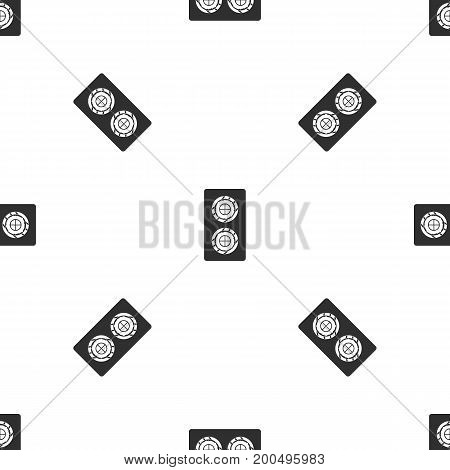 Fish roll pattern repeat seamless in black color for any design. Vector geometric illustration