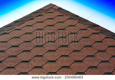 Roof pyramid tiles with gradient sky background hd
