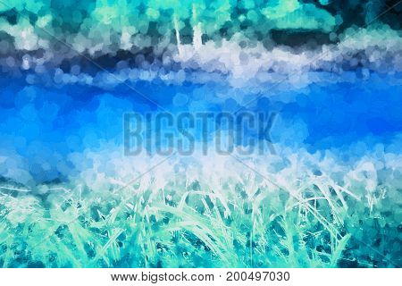 Horizontal river with grass on it's banks llustration background hd