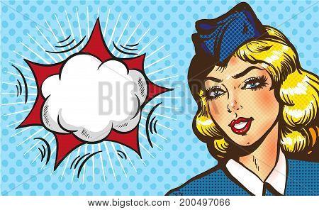 Bon voyage stewardess airplane travel tourism pop art retro style. Business concept success. Aviation transportation and flights