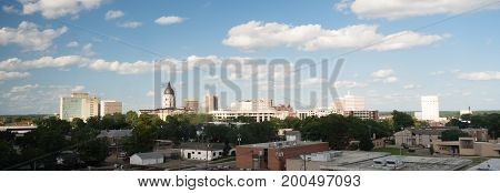 Soft clouds and blue skies appear over Topeka Kansas USA