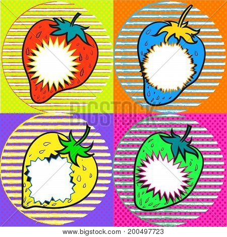 pop art strawberry with speech bubbles kitcsh art stock