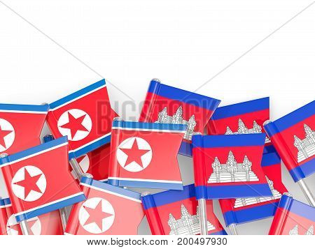 Flag Pins Of North Korea (dprk) And Cambodia Isolated On White