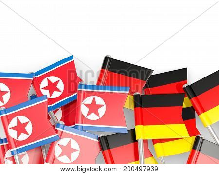 Flag Pins Of North Korea (dprk) And Germany Isolated On White