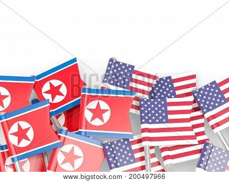 Flag Pins Of North Korea (dprk) And Usa Isolated On White