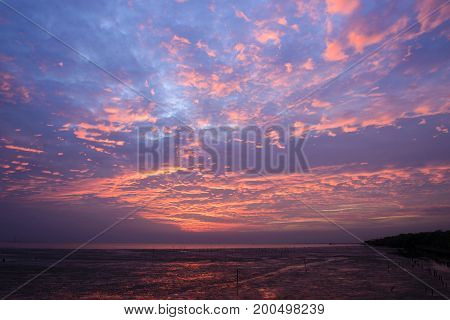 The sunset sky with cloud in the twilight scene.The sunset sky at the beach