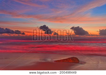 Tropical beach after sunset in beach lights. Nature background