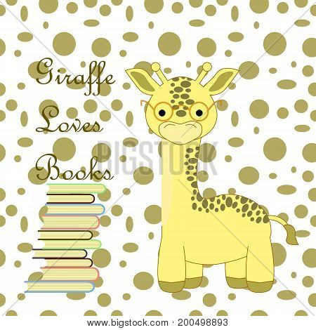 an illustration of a giraffe wearing glasses with a stack of  literature