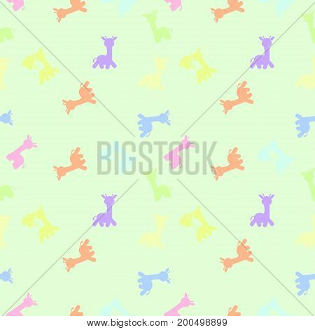 a background of giraffes in silhouette in colorful pastel color