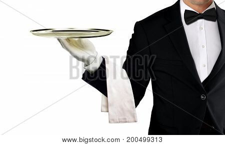 Waiter holding empty silver tray over white