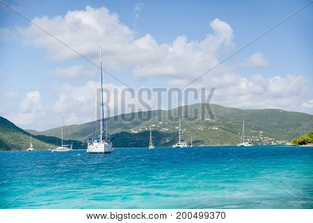 British Virgin Islands Blue Water Sailboats with Islands