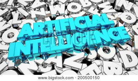 Artificial Intelligence Words Letters Machine Learning 3d Illustration