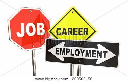Job Career Employment Signs 3d Illustration