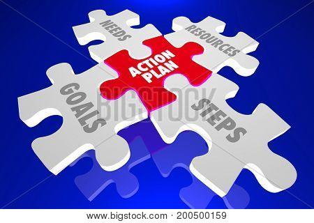Action Plan Steps Goals Resources Puzzle Pieces 3d Illustration