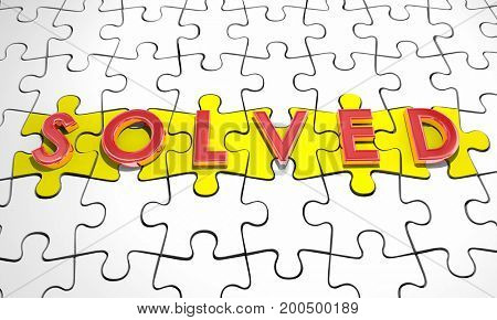 Solved Puzzle Pieces Solution Word 3d Illustration