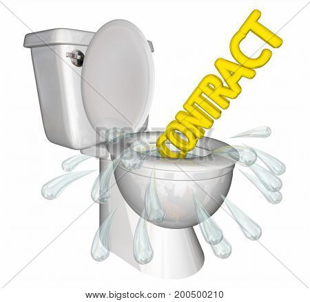 Flushing Contract Agreement Down Toilet 3d Illustration