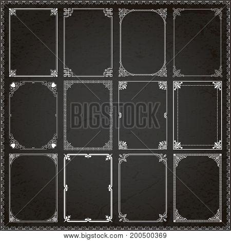 Decorative vintage frames borders backgrounds rectangle proportions set 6 vector