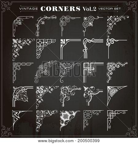 Vintage Design Elements Corners Borders Frames Set 2 Vector