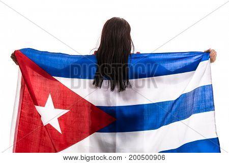 Cuban fan holding the national flag