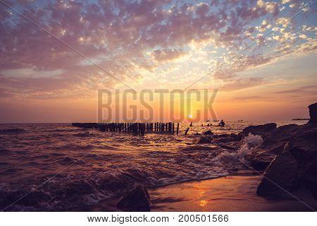 Beautiful Sunset On The Black Sea. Gold Sea Sunset.poti, Georgia
