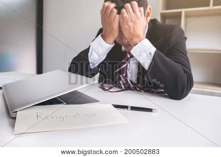 Feeling sick and tired businessman frustrated and stress to resignation.