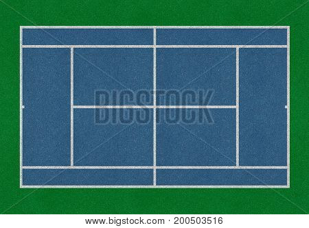 Tennis field. Tennis blue court. Top view. Isolated