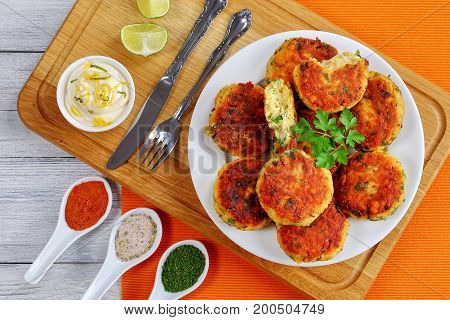 Tasty Fish Cakes On White Plate