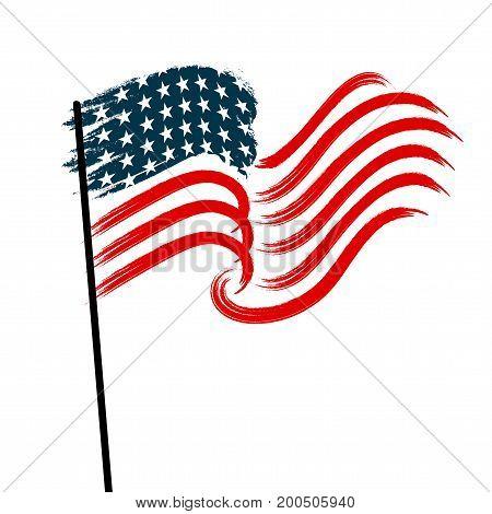 Stylized national waving flag on white background. Vector illustration