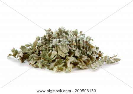 Mullein Verbascum thapsus dried leaves on white