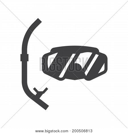 Vector scuba diving mask and snorkel icon. Snorkeling tube and goggles silhouette isolated on white background. Sea swimming appliances.