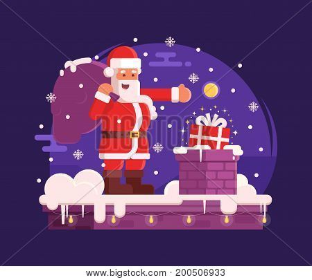 Smiling Santa with pocket of presents putting gift box in a chimney. Christmas scene with cartoon Santa Claus standing on roof under snowfall by christmas night. Concept vector illustration.