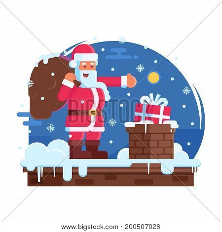 Happy Santa Claus with bag putting gift box in a chimney. Merry Christmas scene with cartoon Santa standing on house top with gift under snowfall. Concept vector illustration.