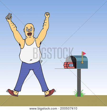 Excited Man Found Dynamite