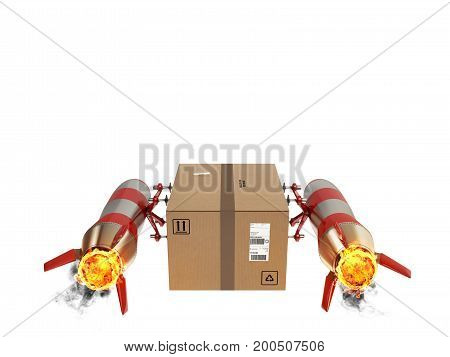 Fast delivery of a package by turbo rocket . 3D Rendering