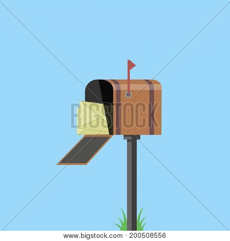Mail Box With Red Flag