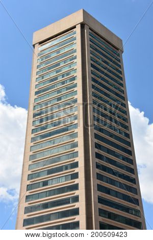 BALTIMORE, MARYLAND - JUL 2: Baltimore World Trade Center located on the Inner Harbor in Baltimore, Maryland, as seen on July 2, 2017. is the world's tallest regular pentagonal building.