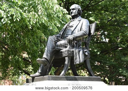 George Peabody statue in Baltimore, Maryland (USA)