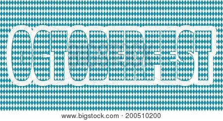 Oktoberfest word textured by blue rhombus pattern