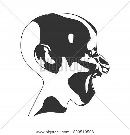 Demonic ugly face. Devil scream character. Demon or monster screaming with in an open mouth as a side view horror face. Head textured by curved stripes