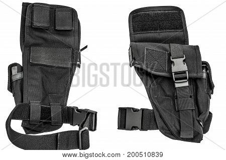 A Tactical Holster Made From High-tech Fabric With Quick Connection System, Close Up, Isolated