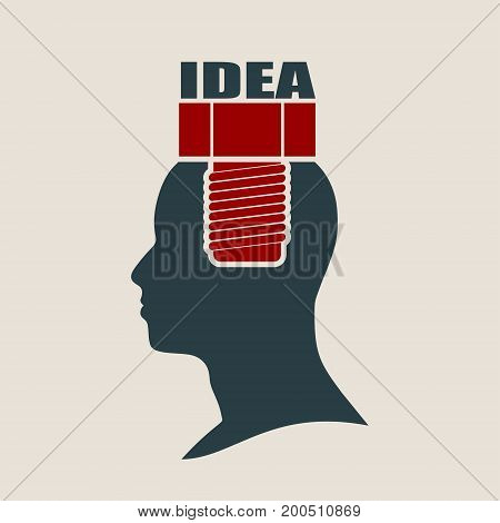 Screw in the head of a person. Mental health relative vector brochure or report design template. Idea word