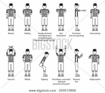 referee american football icon set. vector illustration.