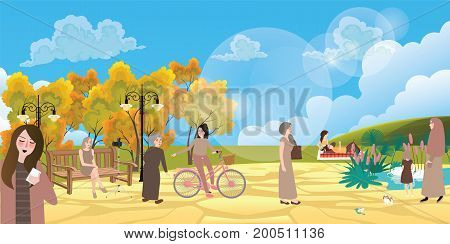 garden city park people interaction situation enjoy autumn community play ground bright sky elderly and young with bicycle vector