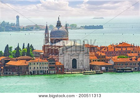 Panoramic View Of Venice From The Campanile Tower Island Of Giudecca And Redentore Church ( Chiesa D
