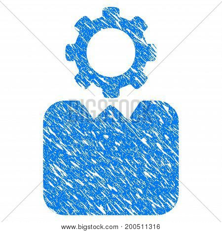 Grunge Bureaucrat icon with grunge design and dust texture. Unclean vector blue pictogram for rubber seal stamp imitations and watermarks. Draft emblem symbol.
