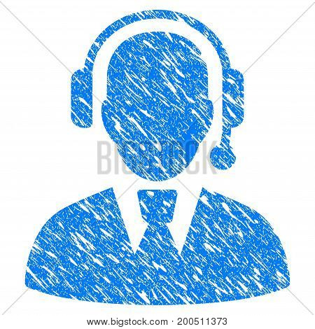 Grunge Call Center Manager icon with grunge design and dirty texture. Unclean vector blue pictogram for rubber seal stamp imitations and watermarks. Draft emblem symbol.