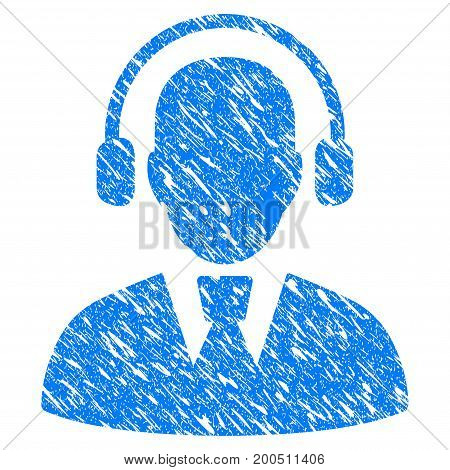 Grunge Call Center Operator icon with grunge design and unclean texture. Unclean vector blue pictogram for rubber seal stamp imitations and watermarks. Draft sticker symbol.