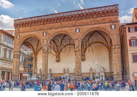 Florence, Italy- May 13, 2017:  Piazza Della Signoria, Loggia Della Signoria (loggia Dei Lanzione) O